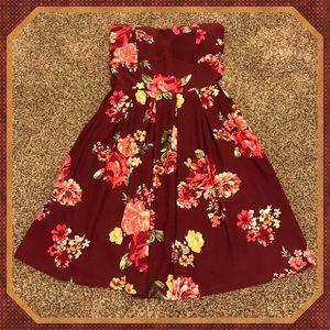 Strapless Floral Print Dress sz. XS